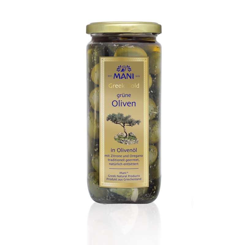 MANI Greek Gold Grüne Oliven in Olivenöl, 455g Glas