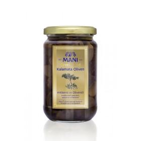 MANI Greek Gold Kalamata Oliven in Olivenöl, entkernt, 315g Glas