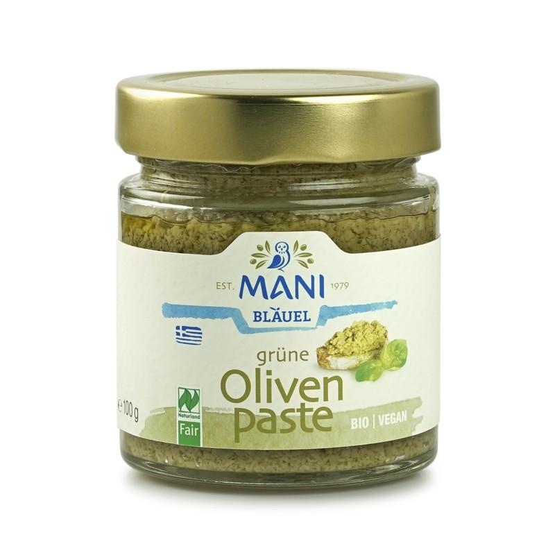 ΜΑΝΙ Grüne Olivenpaste, bio, NL Fair, 100g Glas