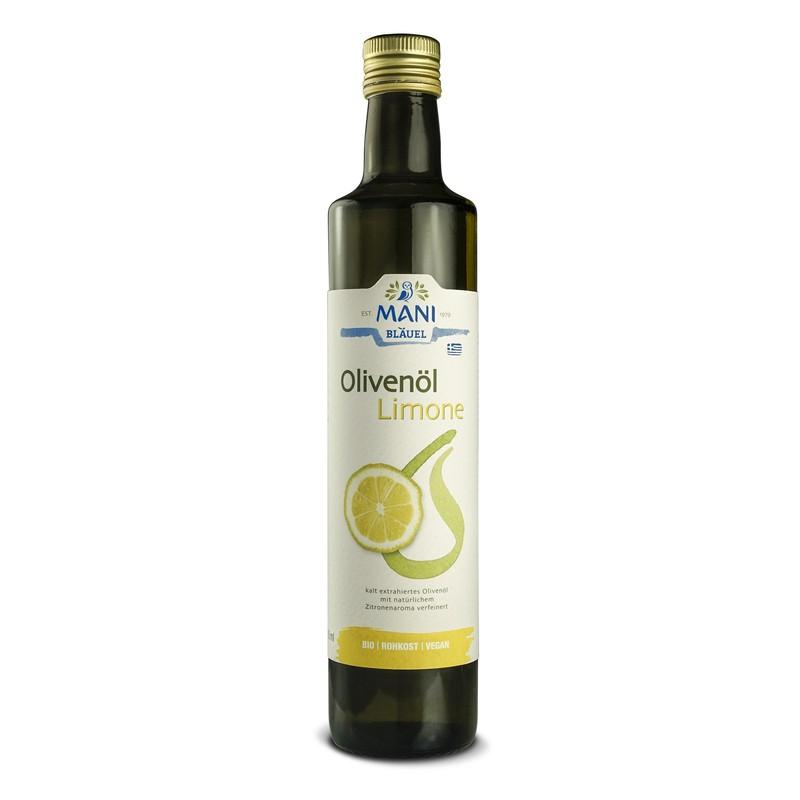 MANI Olivenöl mit Zitrone, bio, 0,5 l Flasche