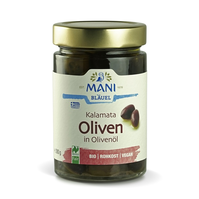 MANI Kalamata Oliven in Olivenöl, bio, NL Fair, 280g Glas