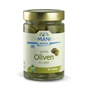 MANI Grüne Oliven in Lake, bio, NL Fair, 300g Glas (180g)