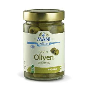 MANI Grüne Oliven in Lake, entkernt, bio, NL Fair, 280g Glas (150g)