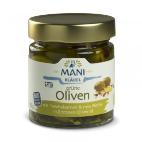MANI Grüne Oliven mit Fenchelsamen und rosa Pfeffer in Zitronen-Olivenöl, bio, 185g Glas